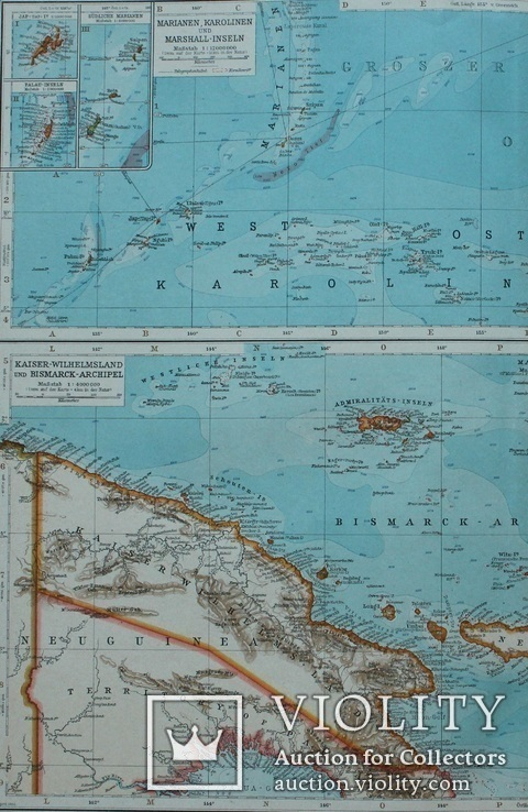 3 карты. Океания, Австралия. Andrees HandAtlas. 1921 год. 56 на 44 см (3)., фото №10