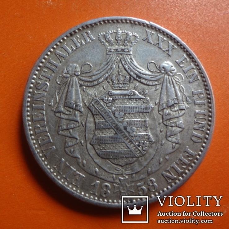 1 талер  1858 Саксония  серебро  (Т.1.7)~, фото №3