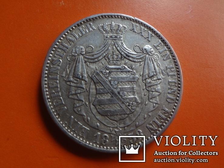 1 талер  1858 Саксония  серебро  (Т.1.7)~, фото №4