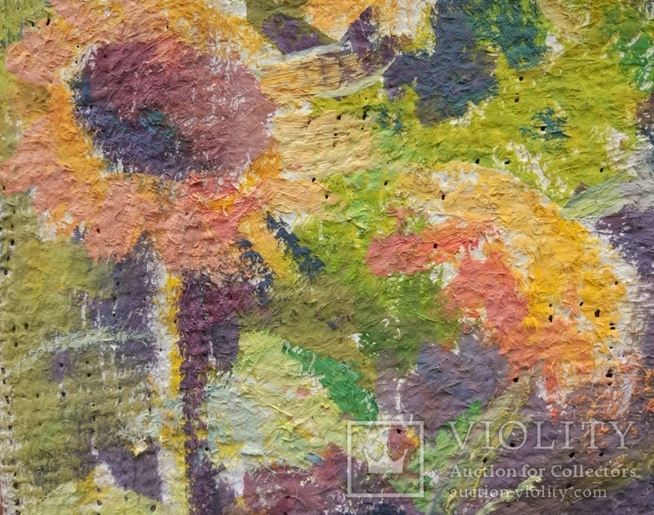 "В.Кнышевский ""Лето.Подсолнухи"",х.м.25*40см,1981г, фото №4"
