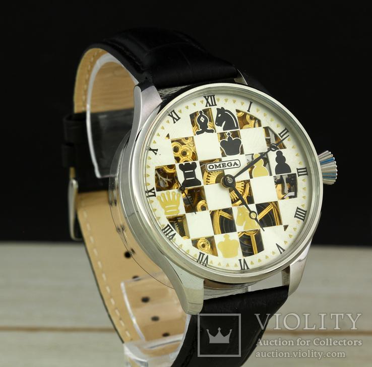 Часы марьяж Omega скелетон шахматы, механизм 1910х годов, фото №5