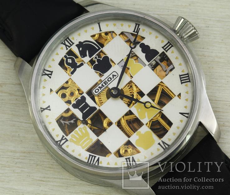 Часы марьяж Omega скелетон шахматы, механизм 1910х годов, фото №6