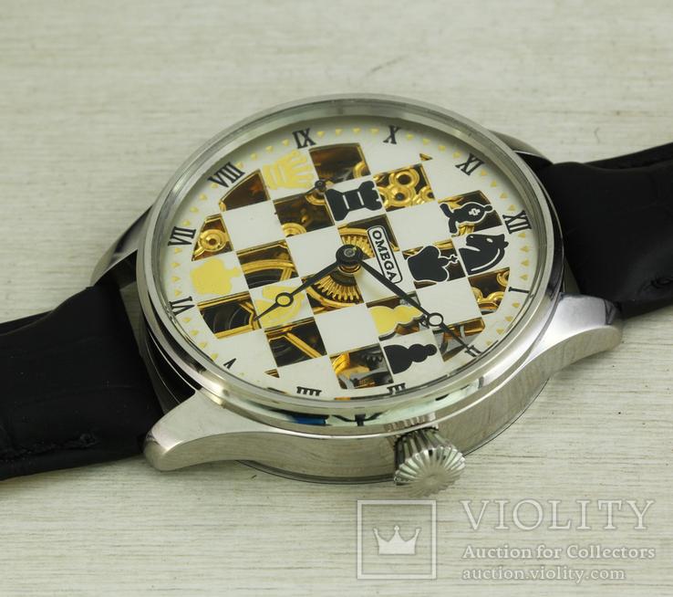 Часы марьяж Omega скелетон шахматы, механизм 1910х годов, фото №8