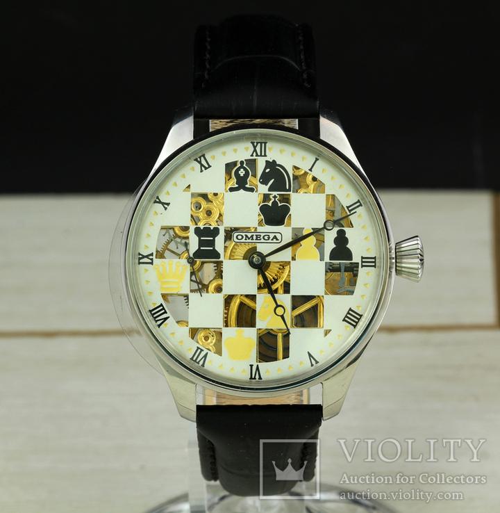 Часы марьяж Omega скелетон шахматы, механизм 1910х годов, фото №9