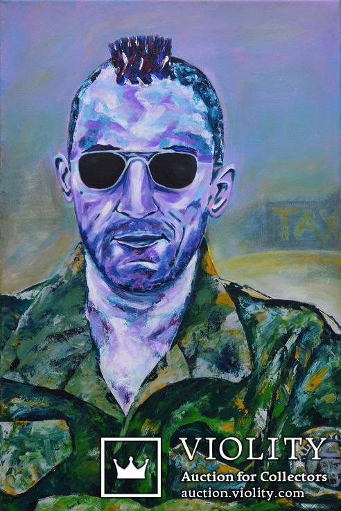 Картина 40х60 акрил холст поп арт И. Безроднов Таксист, фото №2