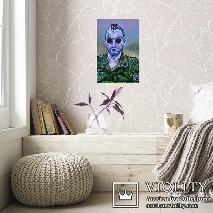 Картина 40х60 акрил холст поп арт И. Безроднов Таксист, фото №3