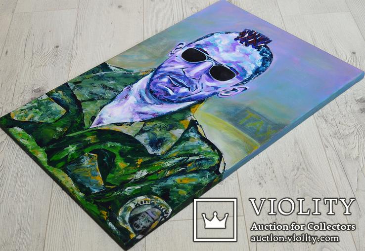 Картина 40х60 акрил холст поп арт И. Безроднов Таксист, фото №4
