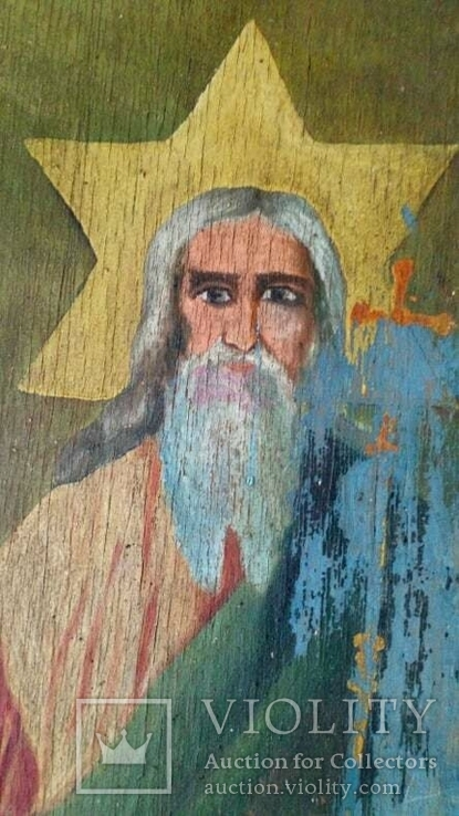 Икона старинная большая Святая Троица 81 х 71 см, фото №7