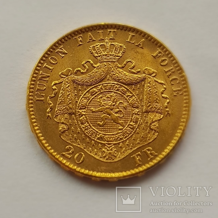Бельгия, 20 франков 1878г. aUNC