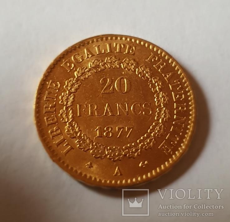 20 франков 1877 год, Франция, золото 6,45 грамм 900, фото №3