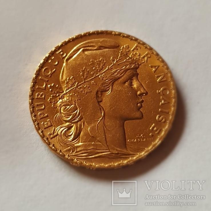 20 франков 1911 год, Франция, золото 6,45 грамм 900', фото №2