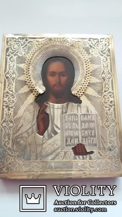 Икона Господь Вседержитель 1886 год, оклад серебро, фото №4