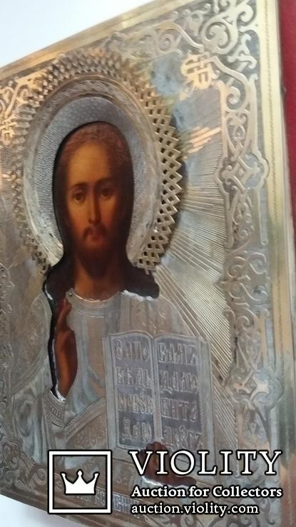 Икона Господь Вседержитель 1886 год, оклад серебро, фото №9