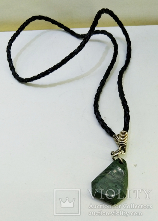 Подвеска камень змеевик натуральный на шнурке, фото №5