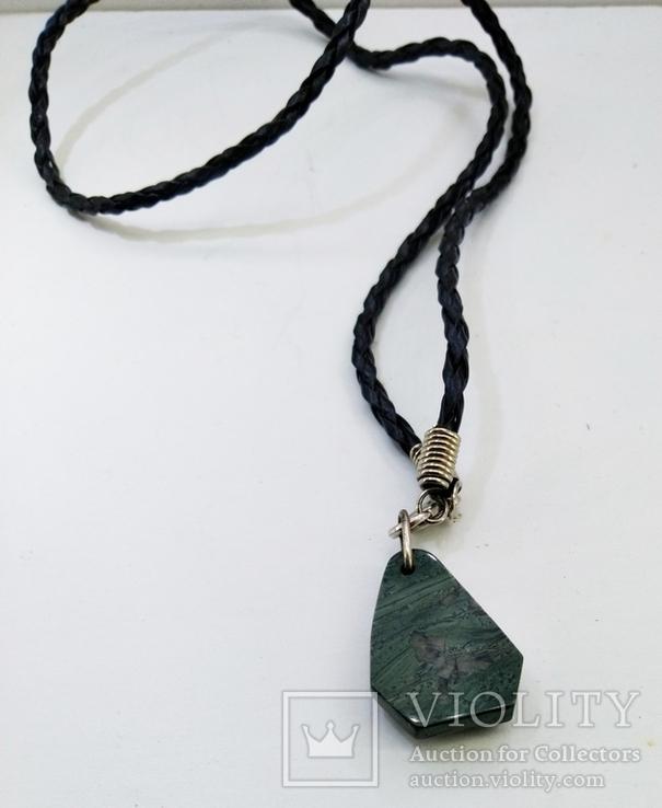 Подвеска камень змеевик натуральный на шнурке, фото №6