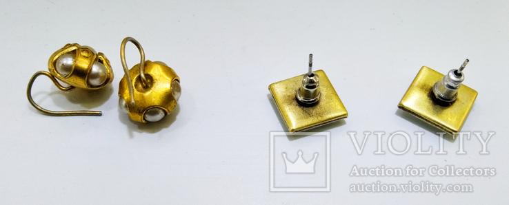 3 винтажные серьги, латунь, бронза, вставки., фото №4