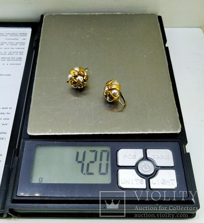 3 винтажные серьги, латунь, бронза, вставки., фото №8