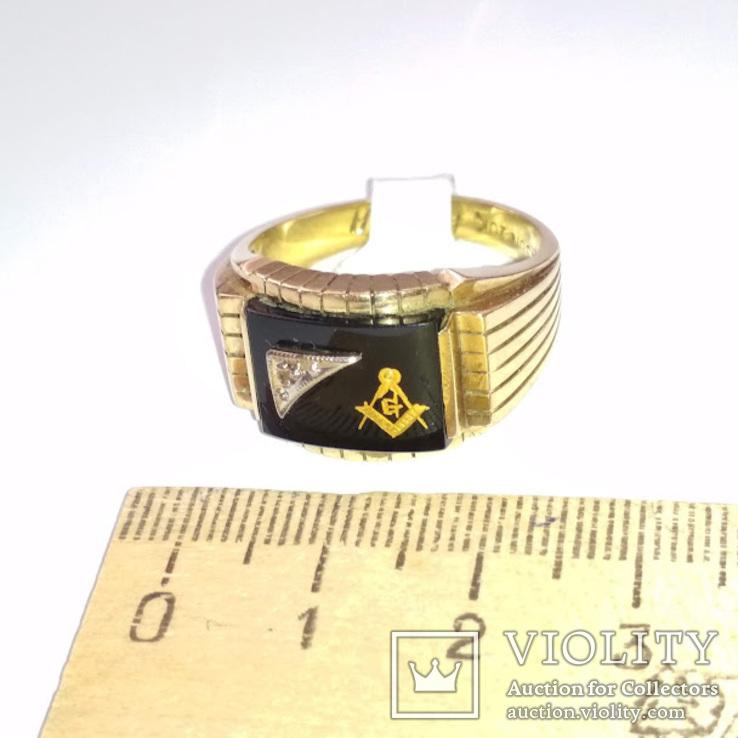 Мужское золотое кольцо с масонской символикой и бриллиантом, фото №4