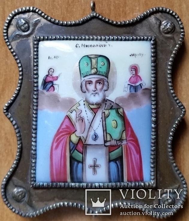 Ікона Микола Чудотворець, фініфть,  7,1х6,2 см, фото №2