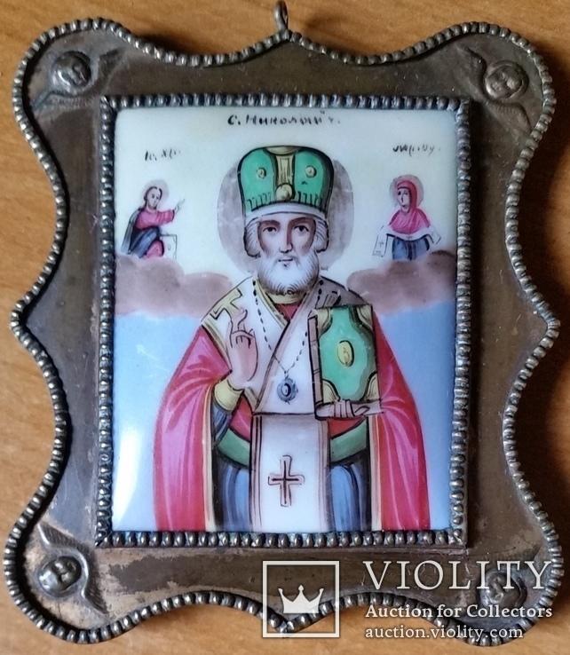 Ікона Микола Чудотворець, фініфть,  7,1х6,2 см, фото №3