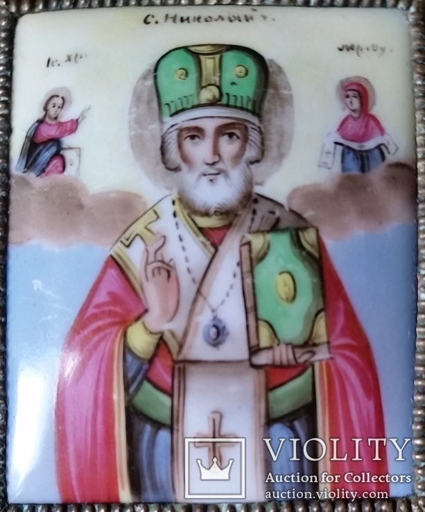 Ікона Микола Чудотворець, фініфть,  7,1х6,2 см, фото №5