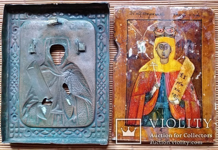Ікона Параскева П'ятниця, мідь, 10,8х8,4 см, фото №7