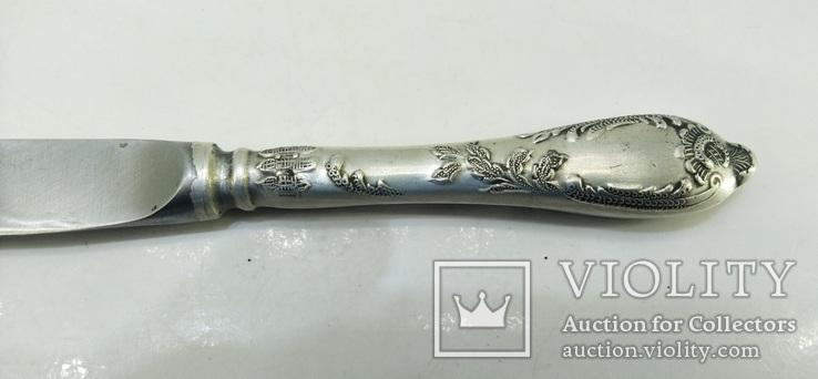 Нож СССР Мельхиор серебрение 111 грамм, фото №9