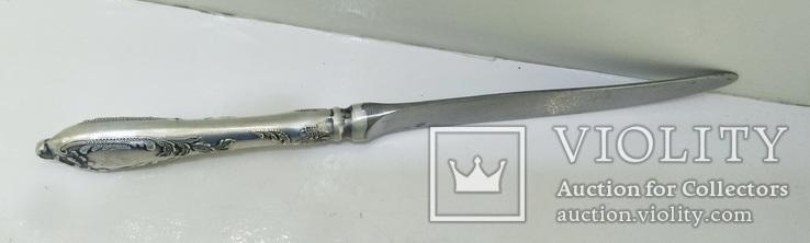 Нож СССР Мельхиор серебрение 111 грамм, фото №11