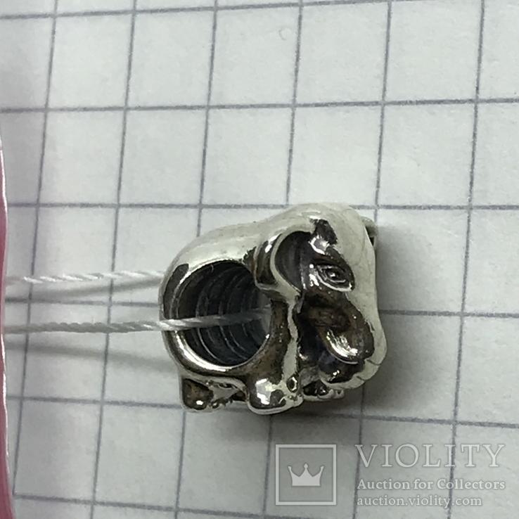 Шарм серебро Pandora слон, фото №4