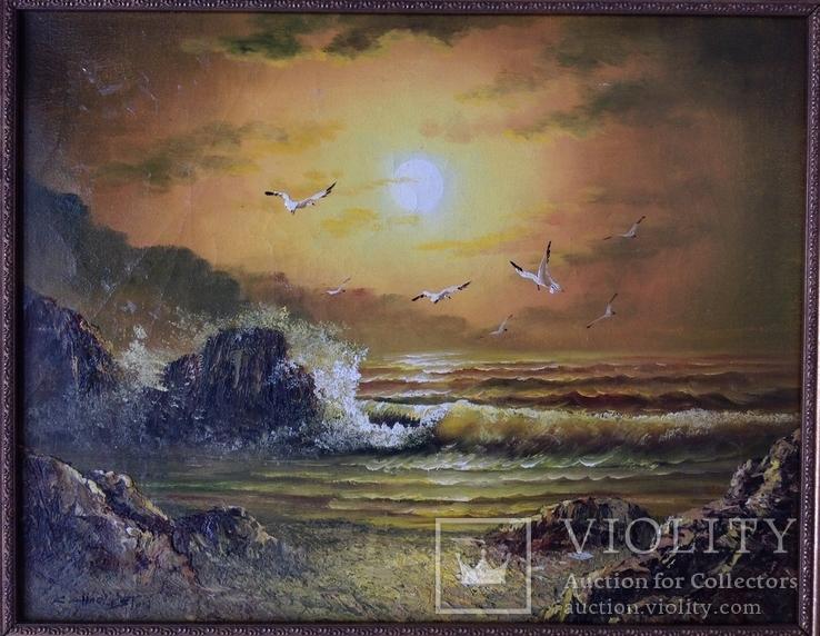 Морской пейзаж  х.м. 40х51, фото №4