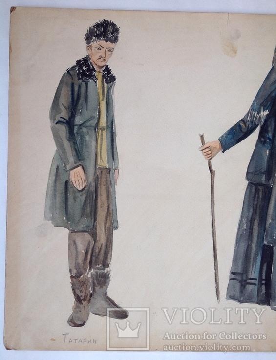 Эскиз костюмов. Шестеренко А.И. 1970-е 44х64, фото №4