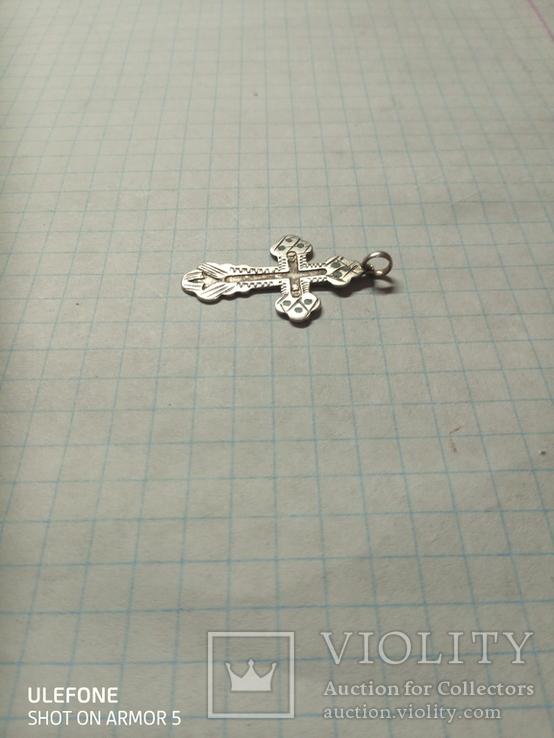 Серебряный царский крестик с остатками эмали, фото №2