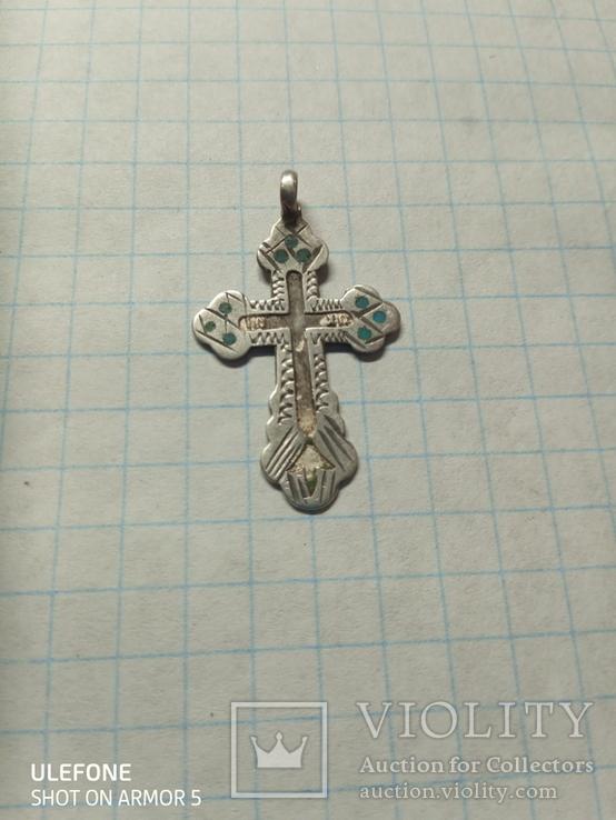 Серебряный царский крестик с остатками эмали, фото №4