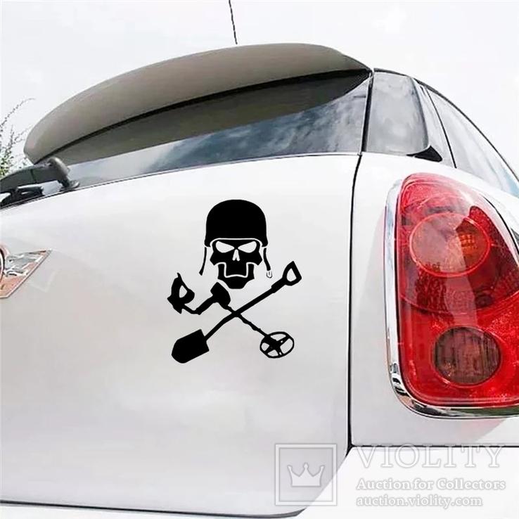 Наклейка на авто копателя черная, фото №2