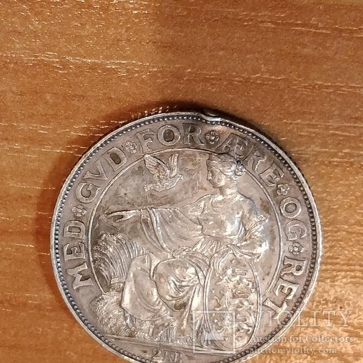 Дания 40 лет правления короля Кристиана 1903 г.,2 кроны, фото №3
