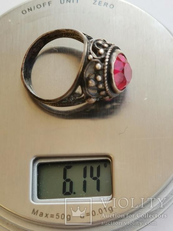 Кольцо серебряное с рубином, фото №2