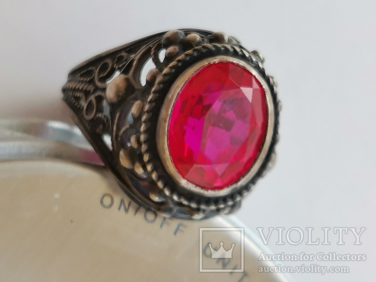 Кольцо серебряное с рубином, фото №9