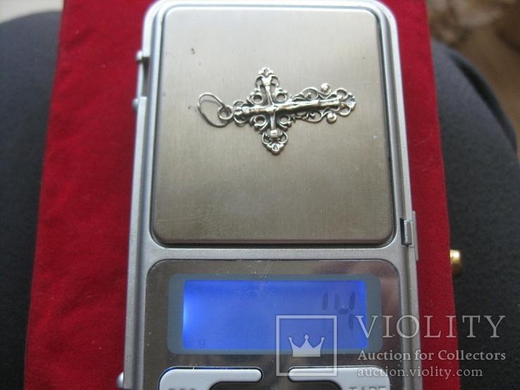 Крестик, крест серебро, 1.4 грамм, фото №4