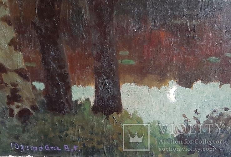 Картина*Лунная ночь*к/м,44*55,худ.Юзефович В.Г.1948г, фото №4