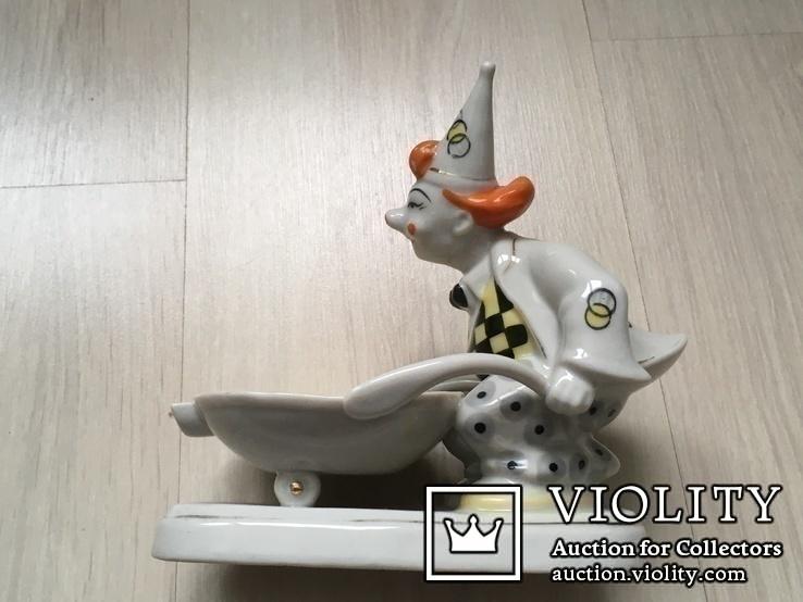 Клоун с тачкой,16см (ЗХК)- пепельница б/у, фото №3