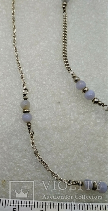 Набор Цепочка и Браслет Серебро 925 Натуральный Камень Агат, фото №5