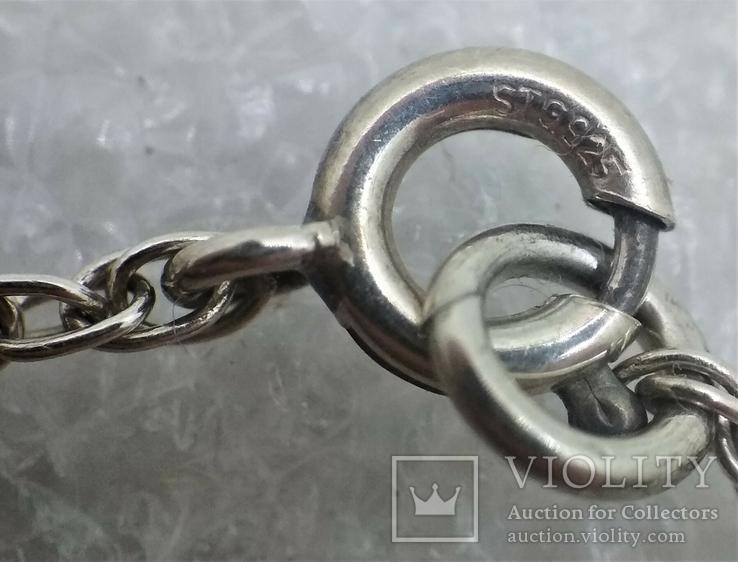 Набор Цепочка и Браслет Серебро 925 Натуральный Камень Агат, фото №11