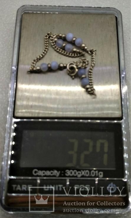 Набор Цепочка и Браслет Серебро 925 Натуральный Камень Агат, фото №13