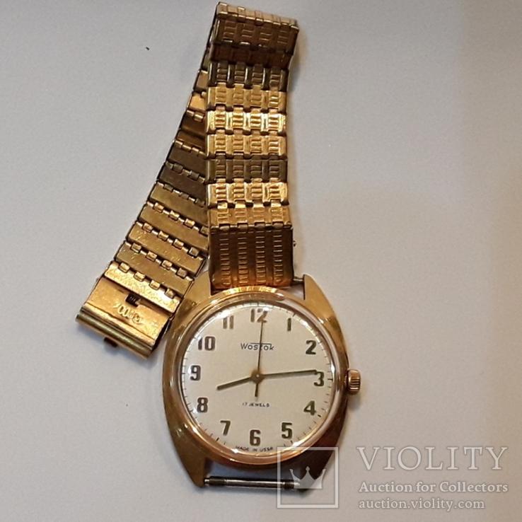 Позолоченые часы Восток  с браслетом, фото №2