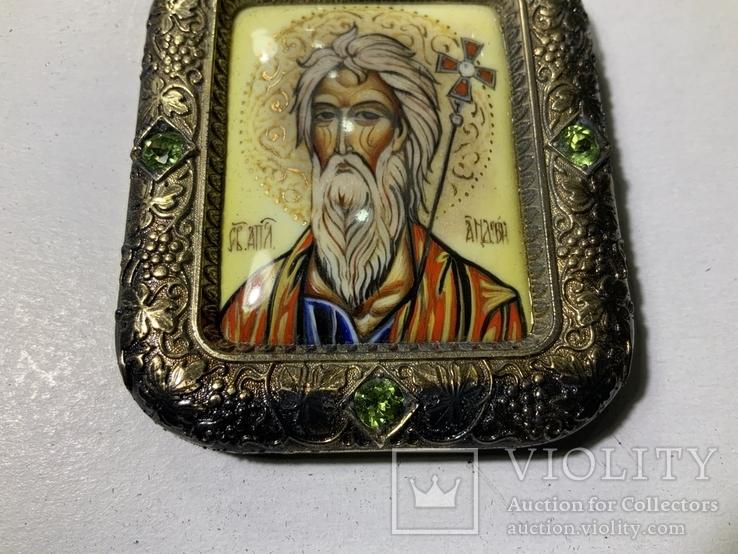 Серебряная икона Андрея Первозванного, фото №8