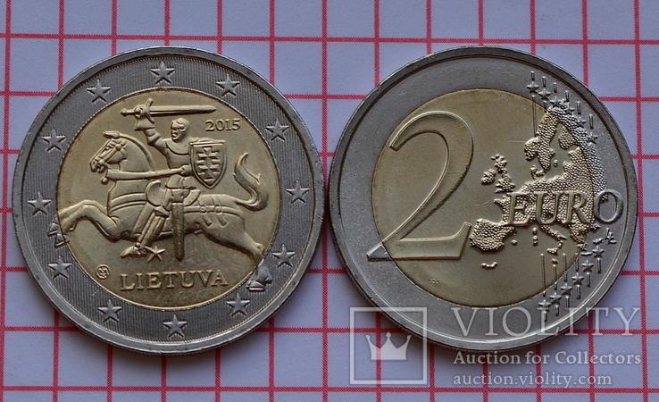 Литва 2 евро, 2015, обиходная, фото №2