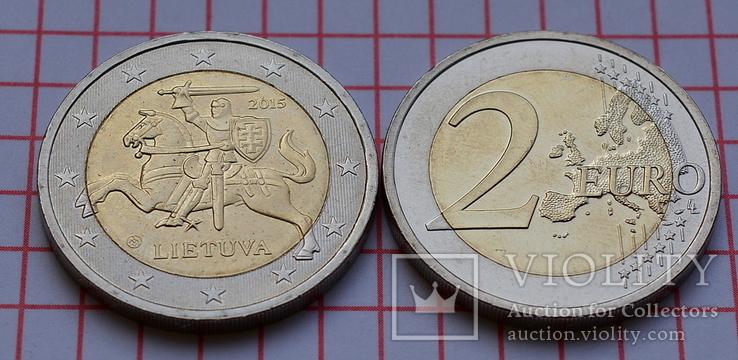Литва 2 евро, 2015, обиходная, фото №3