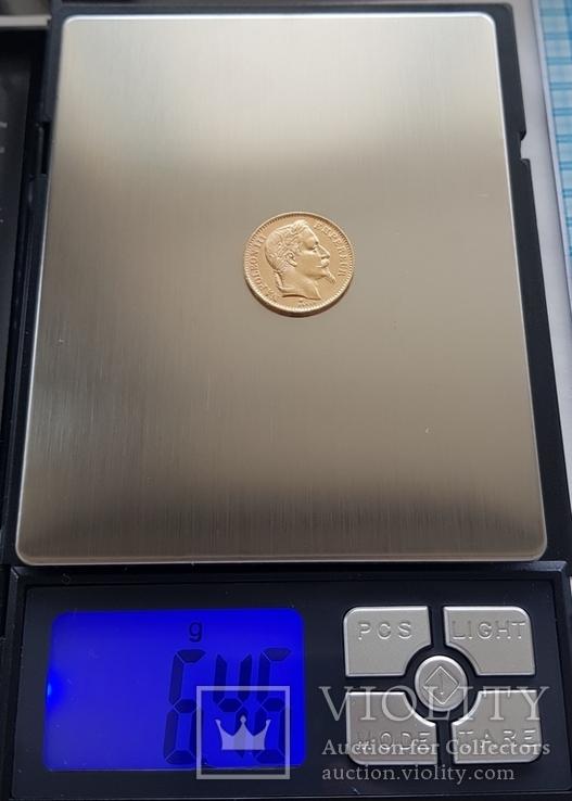 Франция, 20 франков 1868г., золото 6,45г., фото №5