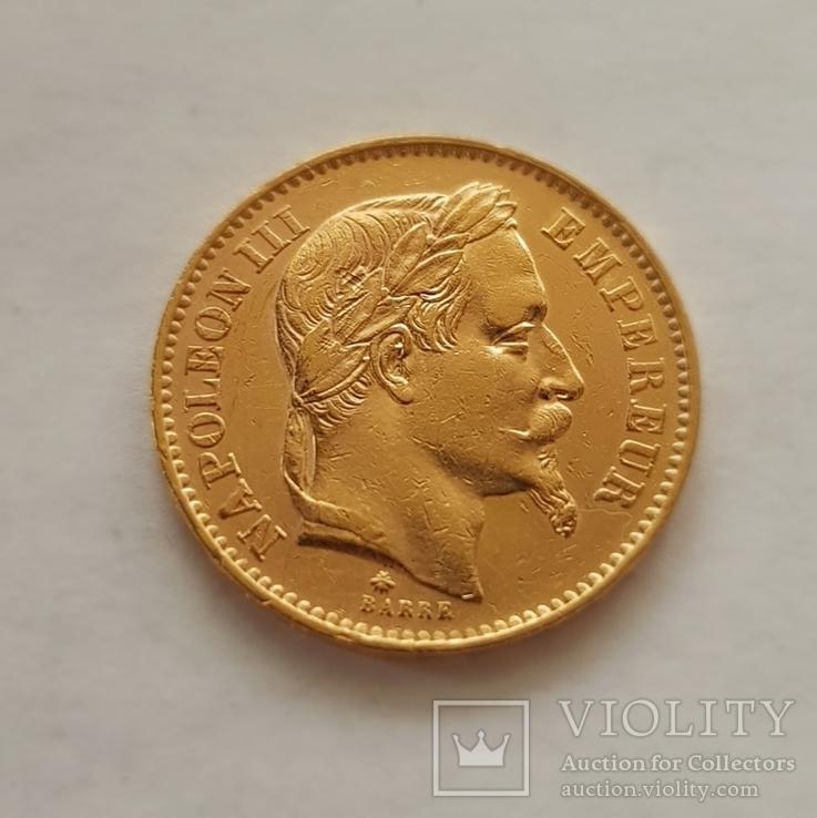 Франция, 20 франков 1868г., золото 6,45г., фото №2