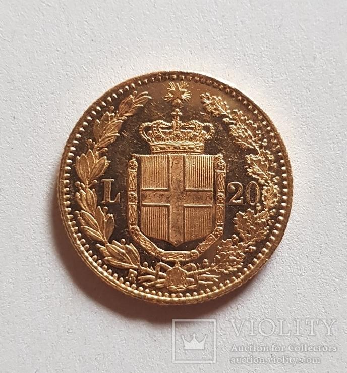 Италия, 20 лир 1882г., золото 6,45г., фото №6